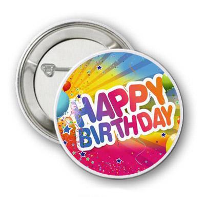 Закатной значок Happy Birthday