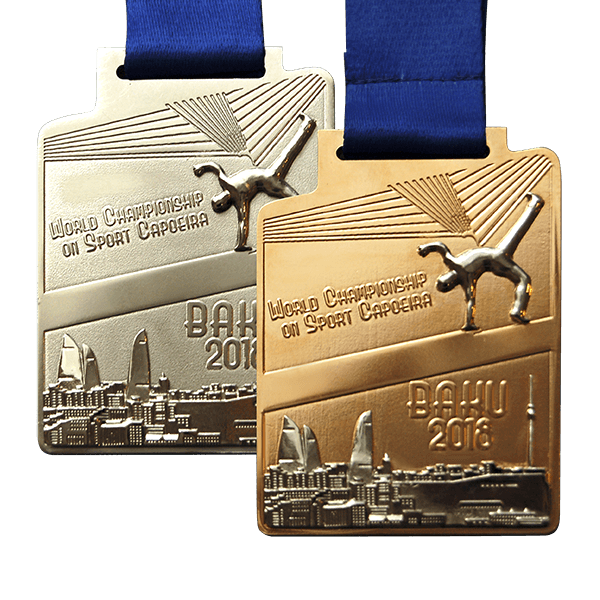 Комбинированная медаль травление, литье Федерация капоэйро Азербайджан